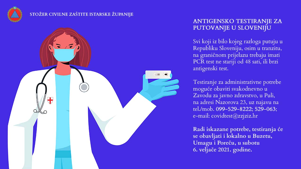 Antigensko testiranje za putovanje u Republiku Sloveniju
