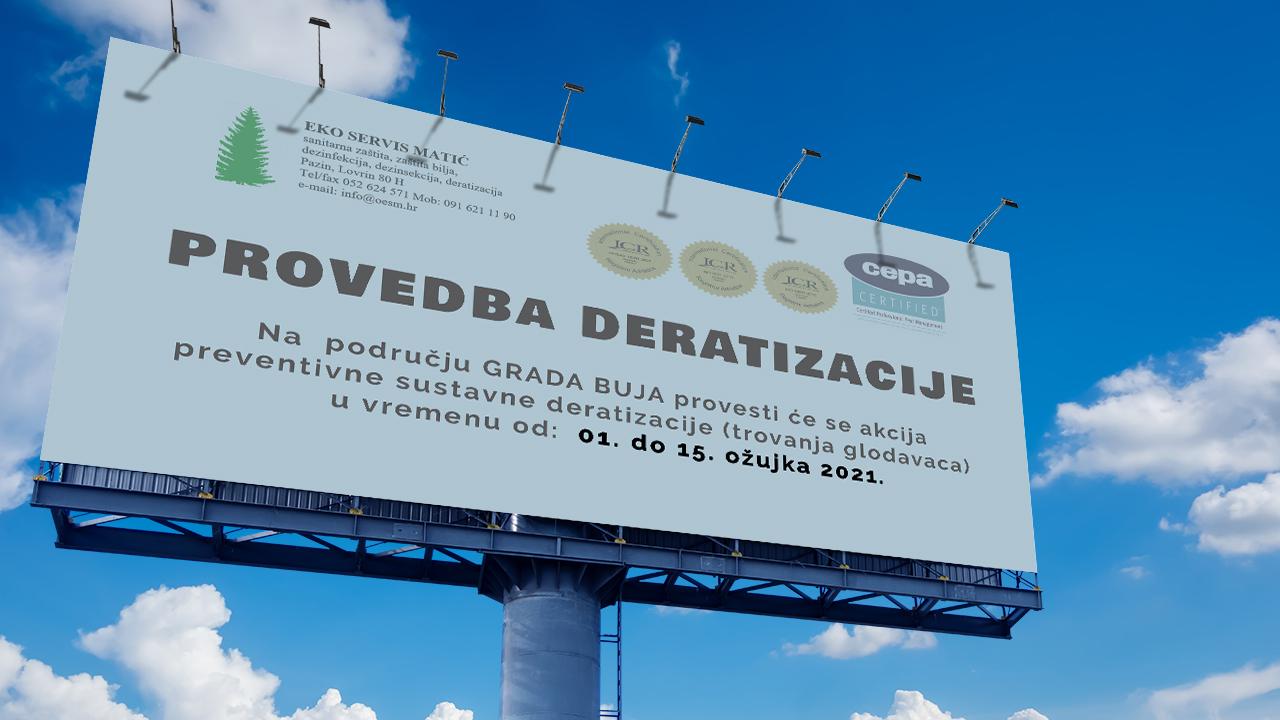 Obavijest o provedbi deratizacije - veljača 2021.