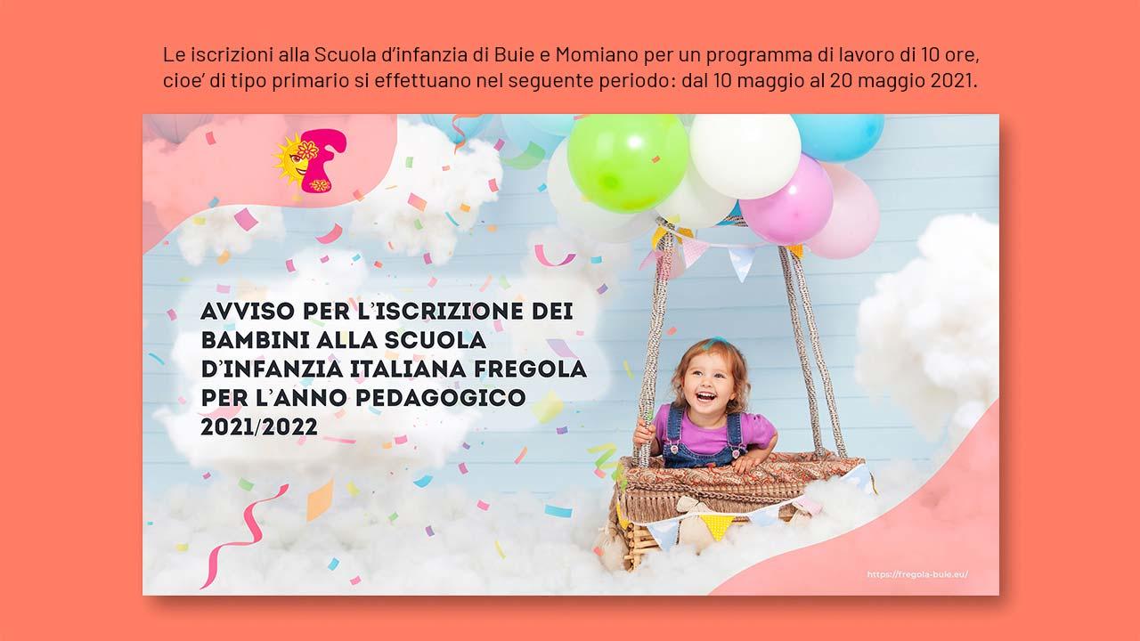 Avviso per l'iscrizione dei bambini alla Scuola d'infanzia italiana Fregola per l'anno pedagogico 2021/2022