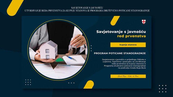 Savjetovanje s javnošću - utvrđivanje reda prvenstva za kupnju stanova iz Programa društveno poticane stanogradnje