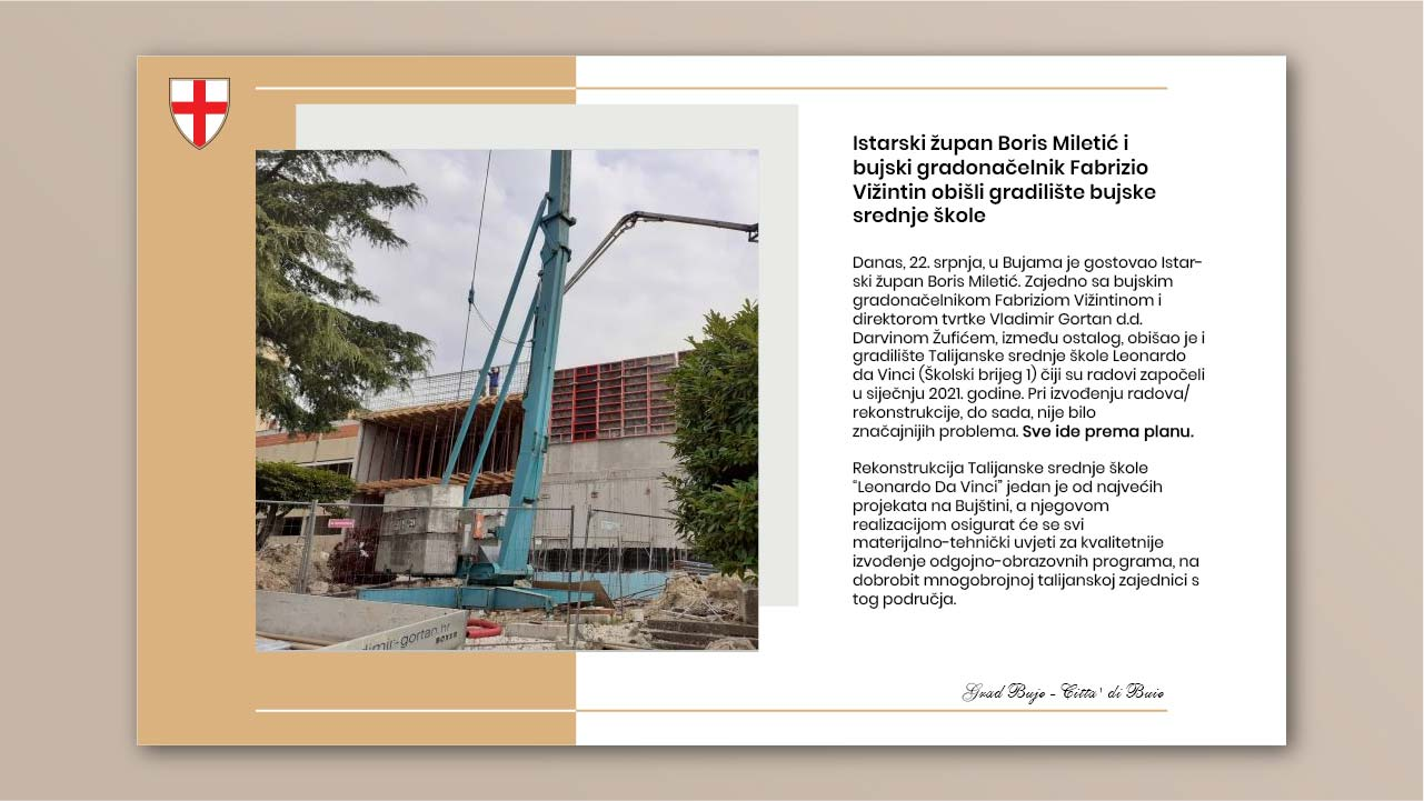 Istarski župan Boris Miletić i bujski gradonačelnik Fabrizio Vižintin obišli gradilište bujske srednje škole
