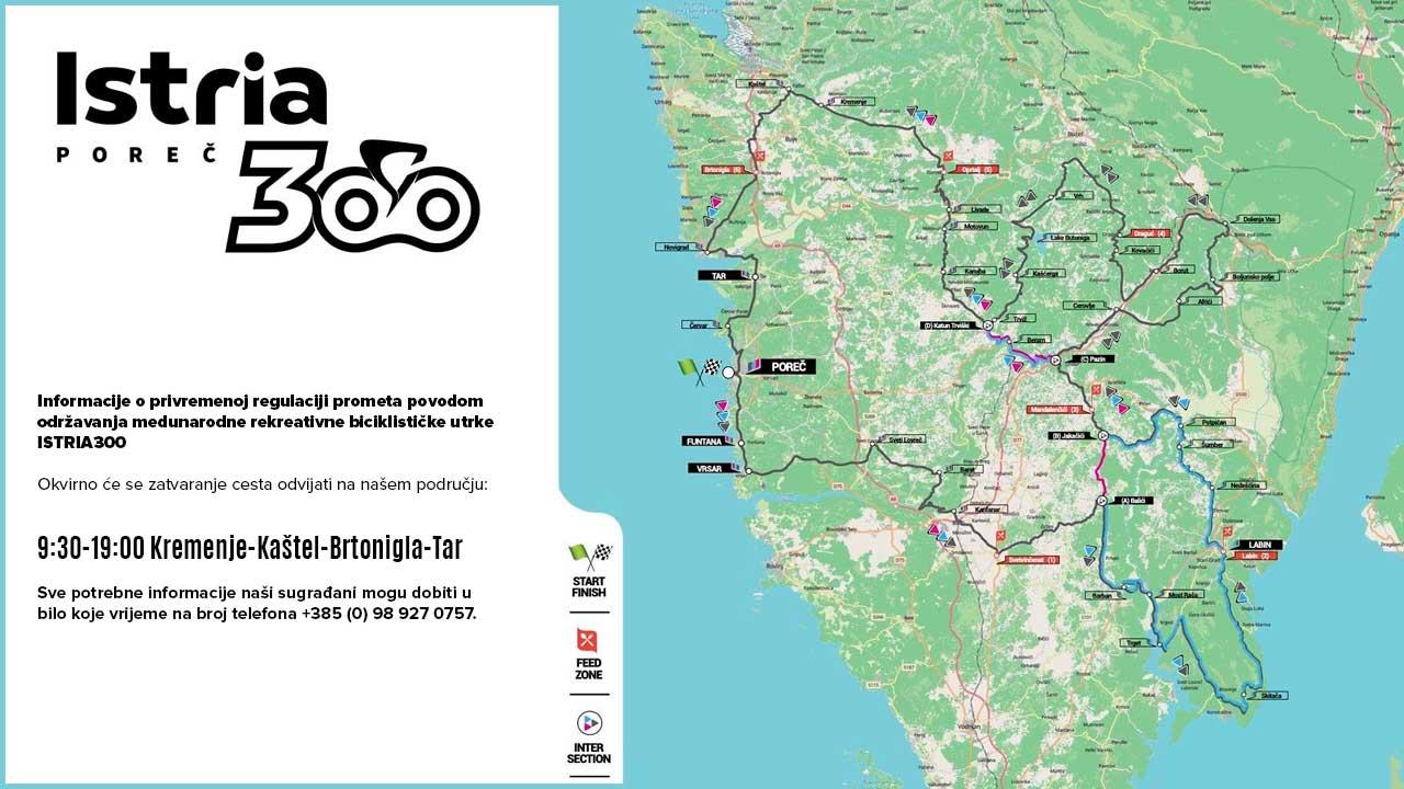 Informacije o privremenoj regulaciji prometa povodom održavanja medunarodne rekreativne biciklističke utrke ISTRIA300